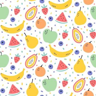 Fruta linda mezcla de patrones sin fisuras