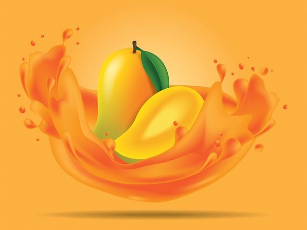 Fruta de mango con ilustración de jugo de splash