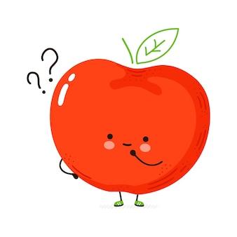 Fruta de manzana divertida linda con signos de interrogación