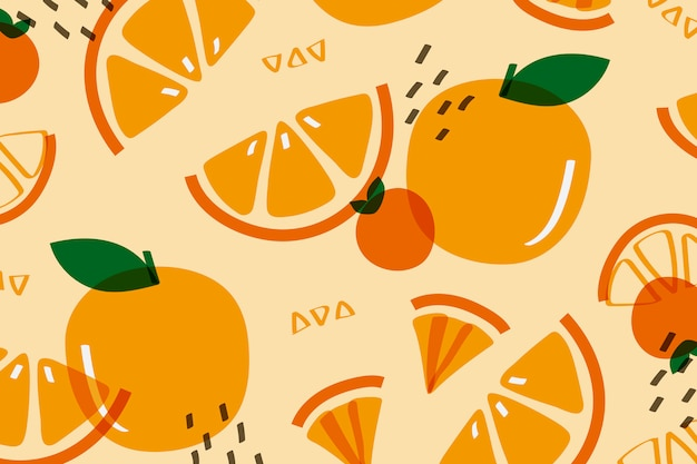 Fruta naranja al estilo memphis.