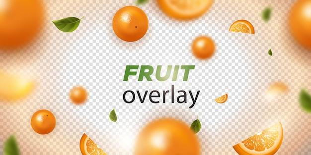Fruta naranja sobre fondo transparente