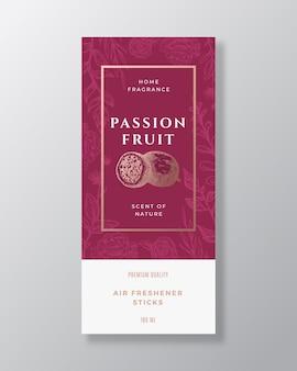 Fruta de la pasión fragancia casera resumen vector etiqueta plantilla boceto dibujado a mano flores hojas backgro ...