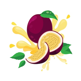 Fruta de la pasión fresca aislada en diseño plano
