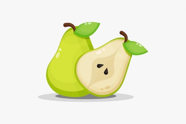 Fruta de pera y pera en rodajas