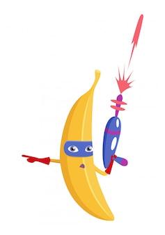 Fruta del personaje del plátano en traje de superhéroe.