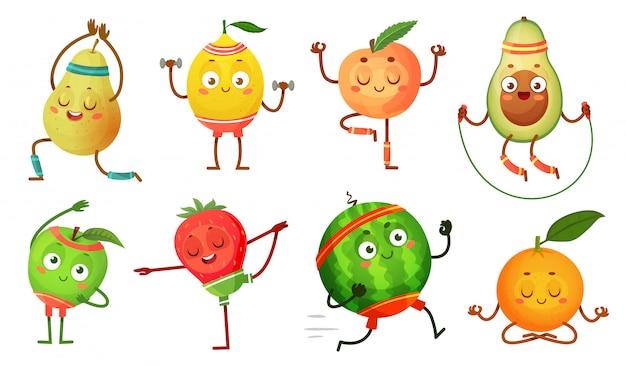 Fruta personajes yoga. frutas en poses de ejercicios de fitness, comida de bienestar y deporte divertido conjunto de ilustración de dibujos animados de frutas