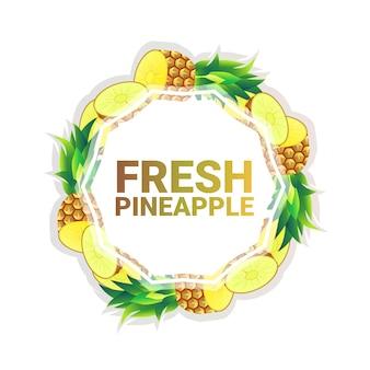 Fruta de piña colorido círculo copia espacio orgánico sobre fondo blanco, estilo de vida saludable o concepto de dieta