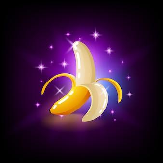 Fruta de plátano amarillo brillante con destellos, icono de tragamonedas para casino en línea
