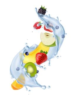 Fruta salpicaduras de agua realista
