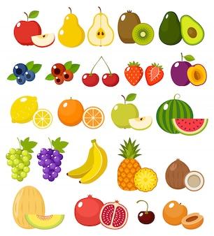 Fruta sobre un fondo blanco