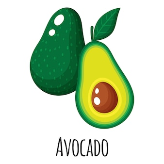 Fruta de superalimento de aguacate para el diseño, la etiqueta y el embalaje del mercado de agricultores de plantilla. alimentos orgánicos de proteínas energéticas naturales.