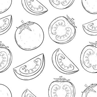 Fruta de tomate en patrones sin fisuras con estilo doodle