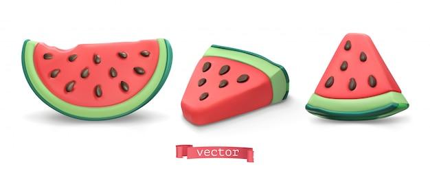 Fruta de verano de sandía. conjunto de ilustración de arte de plastilina