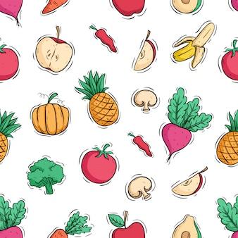 Fruta y verdura saludable en patrones sin fisuras con estilo doodle color