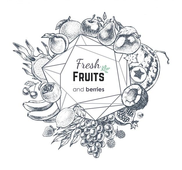 Frutas y bayas banner dibujado a mano.