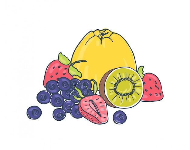 Frutas y bayas jugosas sabrosas que mienten juntas en el fondo blanco