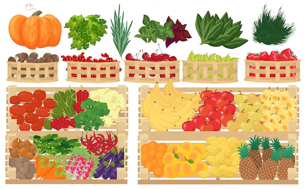 Frutas, bayas y verduras en supermercado.