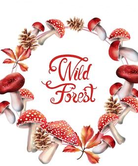 Frutas del bosque salvaje en corona