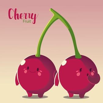 Frutas cerezas kawaii cara divertida felicidad ilustración vectorial