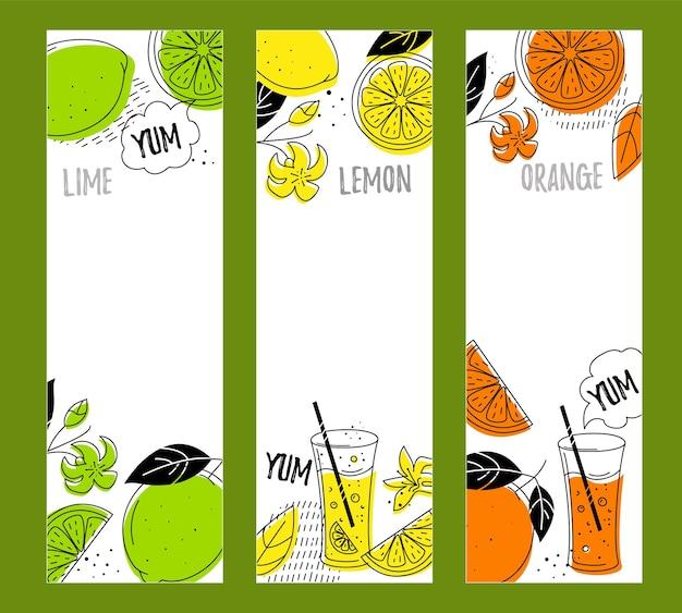 Frutas cítricas (lima, limón, naranja). 3 pancartas verticales con espacio para texto.