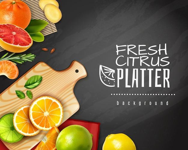 Frutas cítricas en rodajas realistas en pizarra