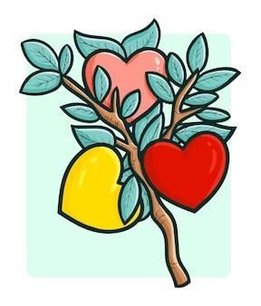 Frutas coloridas divertidas y dulces del amor en el árbol en estilo doodle