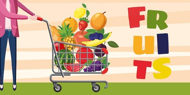 Frutas, concepto de fondo horizontal comprador con carrito de compras.