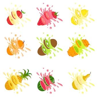 Frutas cortadas en el aire salpicando el jugo