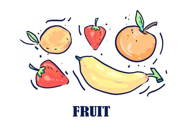 Frutas dibujadas por una línea. ilustración vectorial de frutas