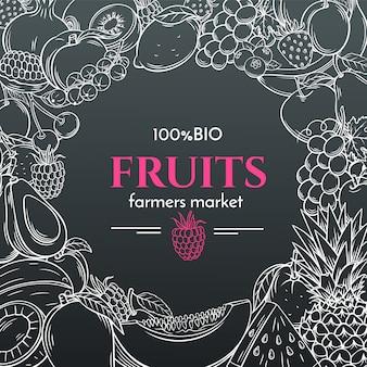 Frutas dibujadas a mano para el menú del mercado de agricultores