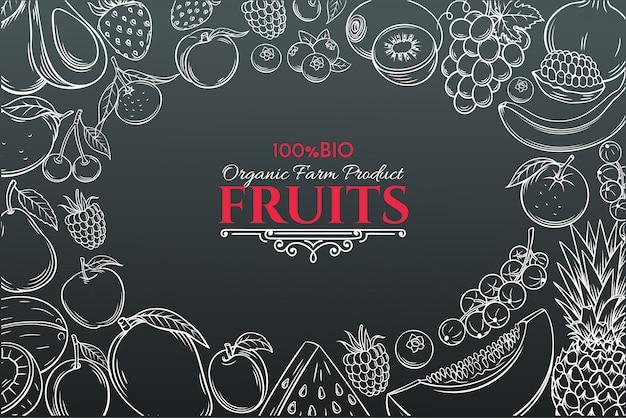 Frutas dibujadas a mano para el mercado de agricultores