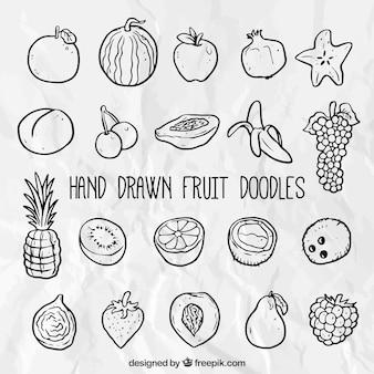 Se de frutas dibujadas a mano