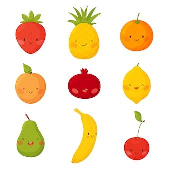 Frutas de dibujos animados lindo con caras divertidas sobre un fondo blanco.