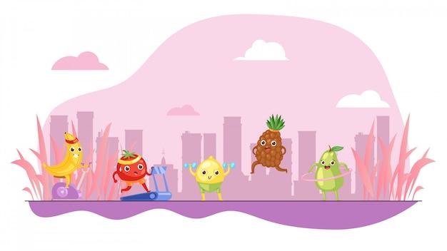 Las frutas divertidas hacen deporte, fondo rosado colorido, vida sana del concepto, alimentación sana, ilustración del estilo de la historieta.