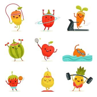 Las frutas divertidas hacen ejercicios de fitness.