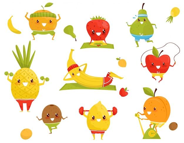 Frutas divertidas haciendo deporte, fresa deportiva, piña, kiwi, plátano, manzana, naranja, pera, kiwi personajes de dibujos animados haciendo ejercicios de fitness ilustración sobre un fondo blanco