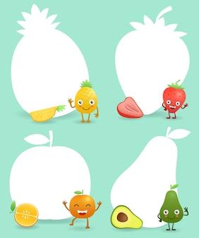 Frutas de divertidos dibujos animados con signo en blanco