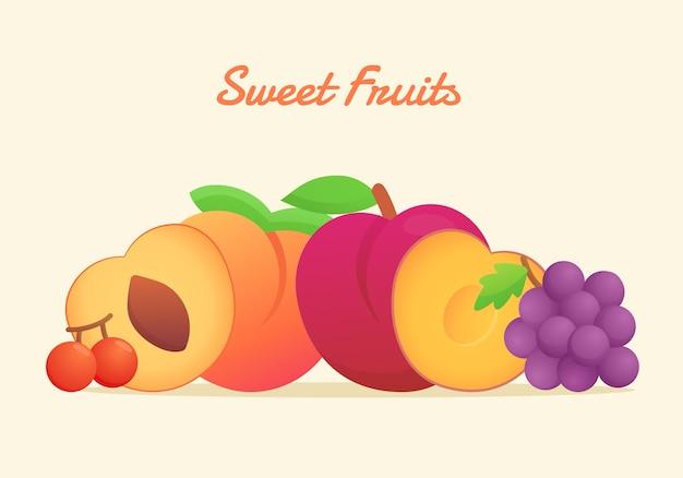 Frutas dulces con estilo de color plano