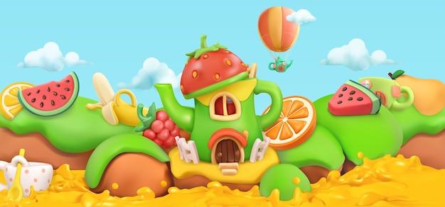 Frutas dulces. fondo de paisaje de dibujos animados