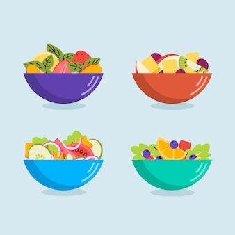 Frutas y ensaladas en tazones de diferentes colores.