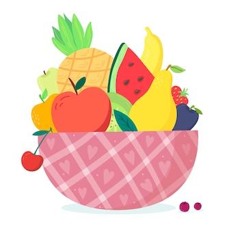 Frutas y ensaladeras de diseño dibujado a mano