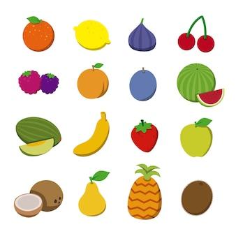 Frutas en estilo plano.