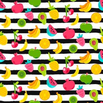 Frutas exóticas en patrones sin fisuras de rayas