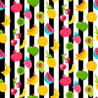 Frutas exóticas en rayas de patrones sin fisuras. fruta de verano, cereza sobre fondo de rayas blanco y negro