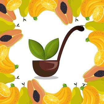 Frutas frescas alimentos saludables
