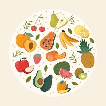 Frutas frescas en círculo