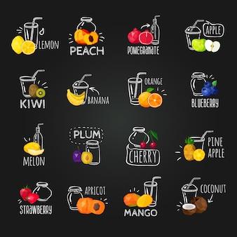 Frutas frescas coloridos iconos de pizarra conjunto