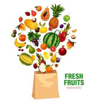 Frutas frescas comiendo sano en bolsa de compras.