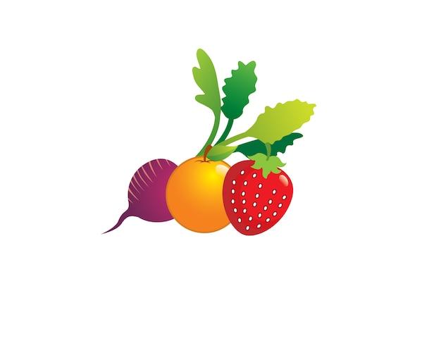 Frutas frescas de la fresa de las remolachas anaranjadas en mercado del granjero