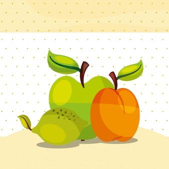 Frutas frescas orgánicas saludables limón verde melocotón manzana